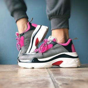 Sporty Casual Pink Platform Sneakers